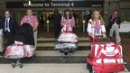 Members of the Russian sailing squad arrive at Heathrow