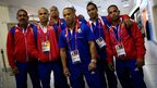 Cuban weightlifting team at Heathrow