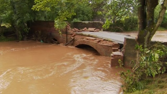 Part of the bridge that stands over the River Rea in Neen Sollars collapsed