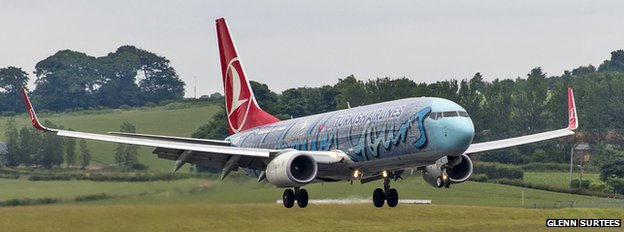 The first flight from Istanbul landed at Edinburgh airport on Monday