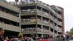 Crowds on a multi-storey car park in Worthing