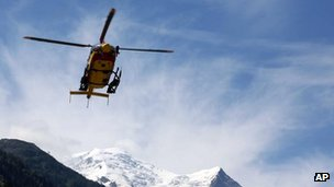 Rescue helicopter in Chamonix, French Alps, 12 July