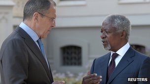 Sergei Lavrov and Kofi Annan, 16 July 2012