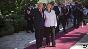 Israel&#039;s President Shimon Peres, left, welcomes US Secretary of State Hillary Rodham Clinton, prior to their meeting at the president&#039;s residence in Jerusalem