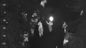 Infrared image from police helicopter