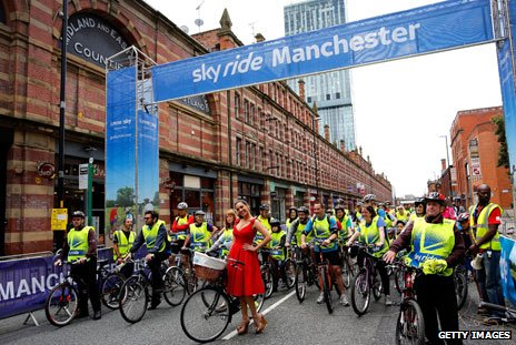 Sky Ride cycling event in the centre of Manchester