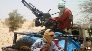 A picture taken on April 24, 2012 shows Islamists rebels of Ansar Dine near Timbuktu, in rebel-held northern Mali.