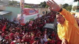 Hugo Chavez out campaigning on 14 July