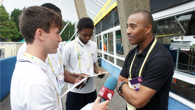 School Reporters interviewing former world 110m hurdles champion Colin Jackson