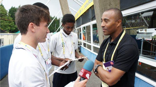 School Reporters interviewing former world 110m hurdles champion Colin Jackson