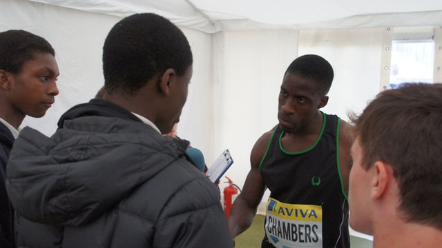 Dwain Chambers reflecting on his performance with School Reporters from Purley