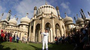 Zachary Narvaez outside the Royal Pavilion in Brighton