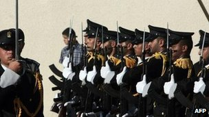 A graduates of Gaza's police academy line-up during a visit by the head of the Hamas government, Ismael Haniya