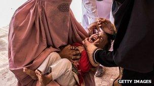 Child receiving polio drops - Pakistan