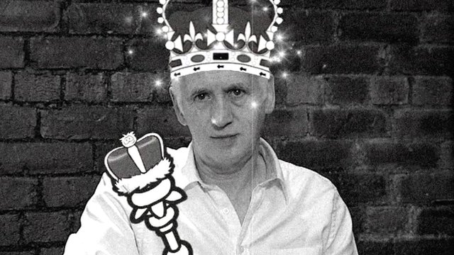 Terry Deary wearing a crown