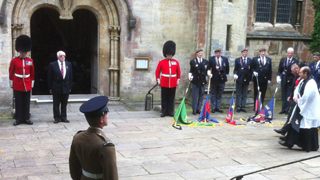 The guard of honour at Llandaff Cathedral