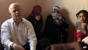 William Hague visiting the Bashabsheh refugee camp in Jordan