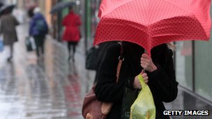 Shopper in the rain