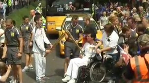 The moment Eddie Kidd took the flame