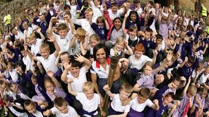 Dame Kelly Holmes with pupils from Hildenborough School, which she used to attend