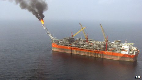 An aerial view taken on 5 February 2008 120km (75 miles) off the coast of Nigeria,, shows the FPSO Bonga (Floating, Production, Storage and Offloading)