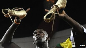 Usain Bolt celebrating Olympic Gold in the 100 metre sprint in Beijing in 2008