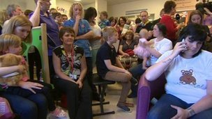 Parents at Leeds General Infirmary after the decision