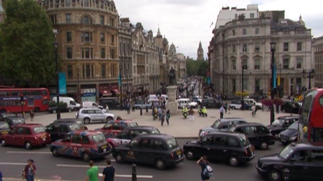 Black cab protest at Trafalgar Square