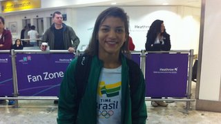 Sarah Menezes arrives at Heathrow airport