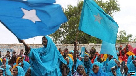 Somali women wave their national flag at Konis stadium, in Mogadishu, during a ceremony marking the anniversary of Somalia's independence on 1 July 2012