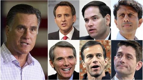 From left and clockwise: Mitt Romney, Tim Pawlenty, Marco Rubio, Bobby Jindal, Paul Ryan, John Thune and Rob Portman