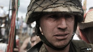 A soldier leaves the base with tears in his eyes