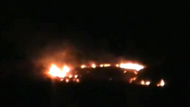 Unverified footage of barracks on fire