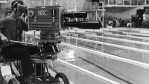 BBC camera at the poolside during the 1958 Empire Games in Cardiff