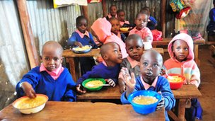 Enjoying lunch in Kibera