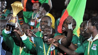Zambia celebrate winning the Africa Cup of Nations