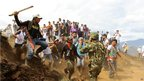 Nasa indigenous people, who live in the Cauca region, participate in a demonstration to demand that the military and Farc rebels  abandon their ancestral lands in Toribio