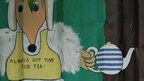 """Artwork of a Womble which reads: """"Always got time for tea"""""""