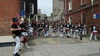 Band of drummers on Lewes High Street