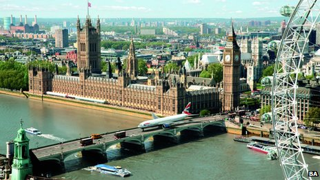 BA plane on Westminster Bridge