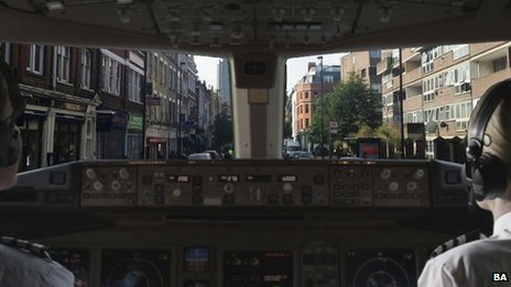 View from the cockpit in BA's Home Advantage ad