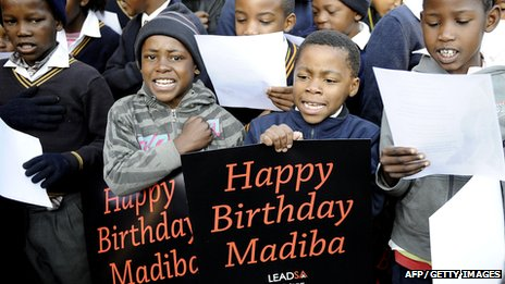 South African school children sing happy birthday to former South African President Nelson Mandela as he turns 94 (18 Jul 2012)