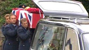 Flt Lt Hywel Poole coffin