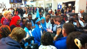 Somalia's entire Olympic team - comprised of just two athletes - arriving at Heathrow