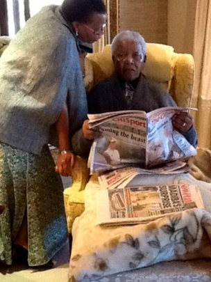 Image of Nelson Mandela taken inside his home