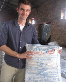 Ben with some of the food shipped in for the Dalla pupils