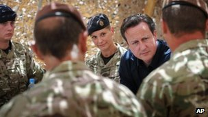 David Cameron meets British soldiers based at Lashkar Gah in Helmand Province
