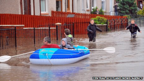 Family in dinghy in Sauchie
