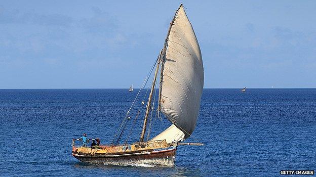 Dhow sailing off Zanzibar