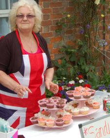Rosemary Clark at her sandwich and cake stall outside her shop